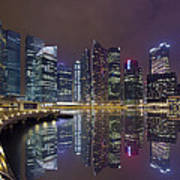Singapore City Skyline Along Marina Bay Boardwalk At Night Art Print