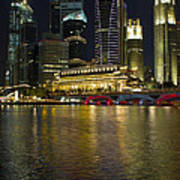 Singapore City Skyline At Night Art Print