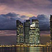 Singapore City Skyline At Sunset Panorama Art Print