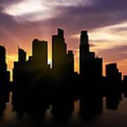 Singapore City Sunset Skyline  Art Print