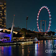 Singapore Flyer At Night Art Print by Rick Piper Photography