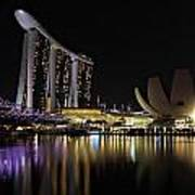 Helix Bridge To Marina Bay Sands Art Print