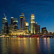 Singapore River Waterfront Skyline At Blue Hour Art Print