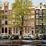 Singel Canal Houses In Amsterdam Art Print