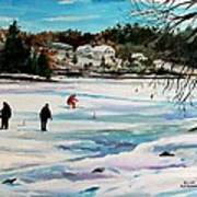 Singeltary Lake Ice Fishing Art Print by Scott Nelson