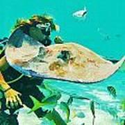 Singray City Cayman Islands Four Art Print