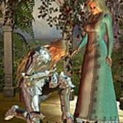 Sir Launcelot And Queen Guinevere Print by Fairy Fantasies