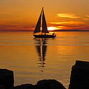Sister Bay Sunset Sail 2 Art Print