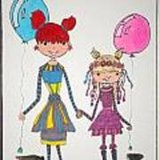 Sisters Friends Art Print by Mary Kay De Jesus