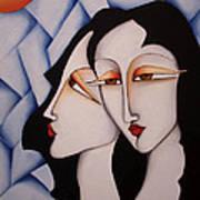 Sisters Under A Paper Sky Art Print