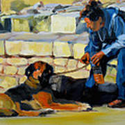 Sitting With A Dog Art Print