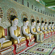 sitting Buddhas in Umin Thonze Pagoda Art Print