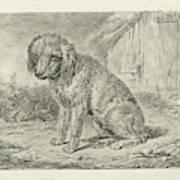 Sitting Dog In A Barn, Johannes Mock Art Print