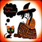 Sitting Halloween Witch Art Print