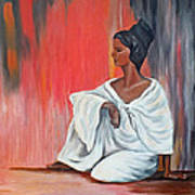Sitting Lady In White Next To A Red Wall Art Print