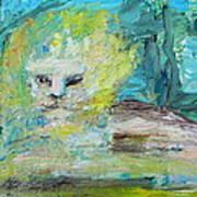 Sitting Lion Oil Portrait Art Print