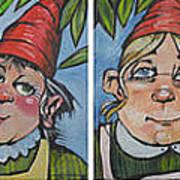 Six Gnomes Horizontal Art Print