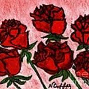 Six Roses Art Print