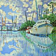 Six Shrimp Boats In Off Season Art Print