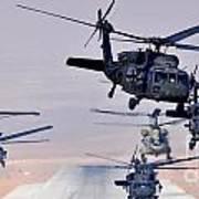 Six Uh-60l Black Hawks And Two Ch-47f Chinooks Art Print