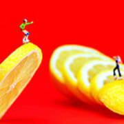 Skateboard Rolling On A Floating Lemon Slice Art Print by Paul Ge