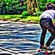 Skateboarder In Central Park Art Print