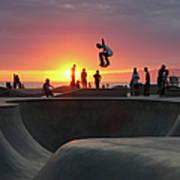 Skateboarding At Venice Beach Art Print