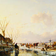Skaters By A Booth On A Frozen River Art Print