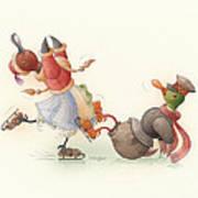 Skating Ducks 8 Print by Kestutis Kasparavicius