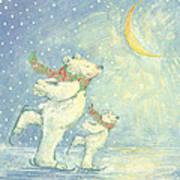 Skating Polar Bears Art Print