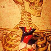 Skeleton And Heart Model Art Print