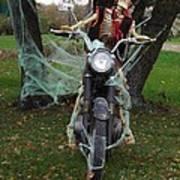 Skeleton Biker On Motorcycle  Art Print