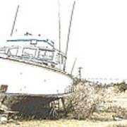 Skeleton Boat Art Print