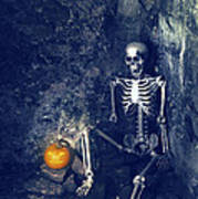 Skeleton With Jack O Lantern Art Print