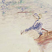Sketch Of A Young Woman In A Boat Art Print