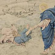 Sketch Of Christ Walking On Water Art Print by Richard Dadd