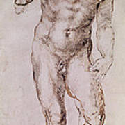 Sketch Of David With His Sling Art Print by Michelangelo Buonarroti
