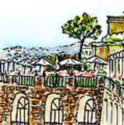 Sketching Italy Sorrento Cliff Art Print