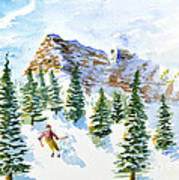 Skier In The Trees Art Print