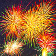 Skies Aglow With Fireworks Art Print by Mark E Tisdale