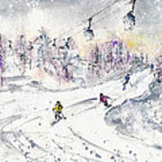 Skiing In The Dolomites In Italy 01 Art Print