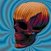 Skull Aura Orange Print by Jason Saunders