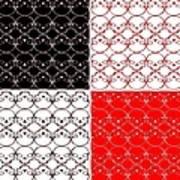Skull Black Red White Pattern Background Art Print