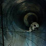 Skull In Drainpipe Art Print