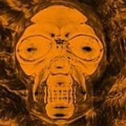 Skull In Negative Orange Art Print