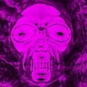 Skull In Negative Purple Art Print