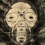 Skull In Negative Sepia Art Print