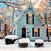 Sky Blue Gingerbread House  Art Print by Dorothy Walker