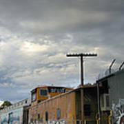 Sky Clouds And Graffiti Old Santa Fe Railyard Art Print