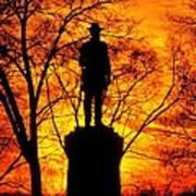 Sky Fire - Flames Of Battle 50th Pennsylvania Volunteer Infantry-a1 Sunset Antietam Art Print by Michael Mazaika